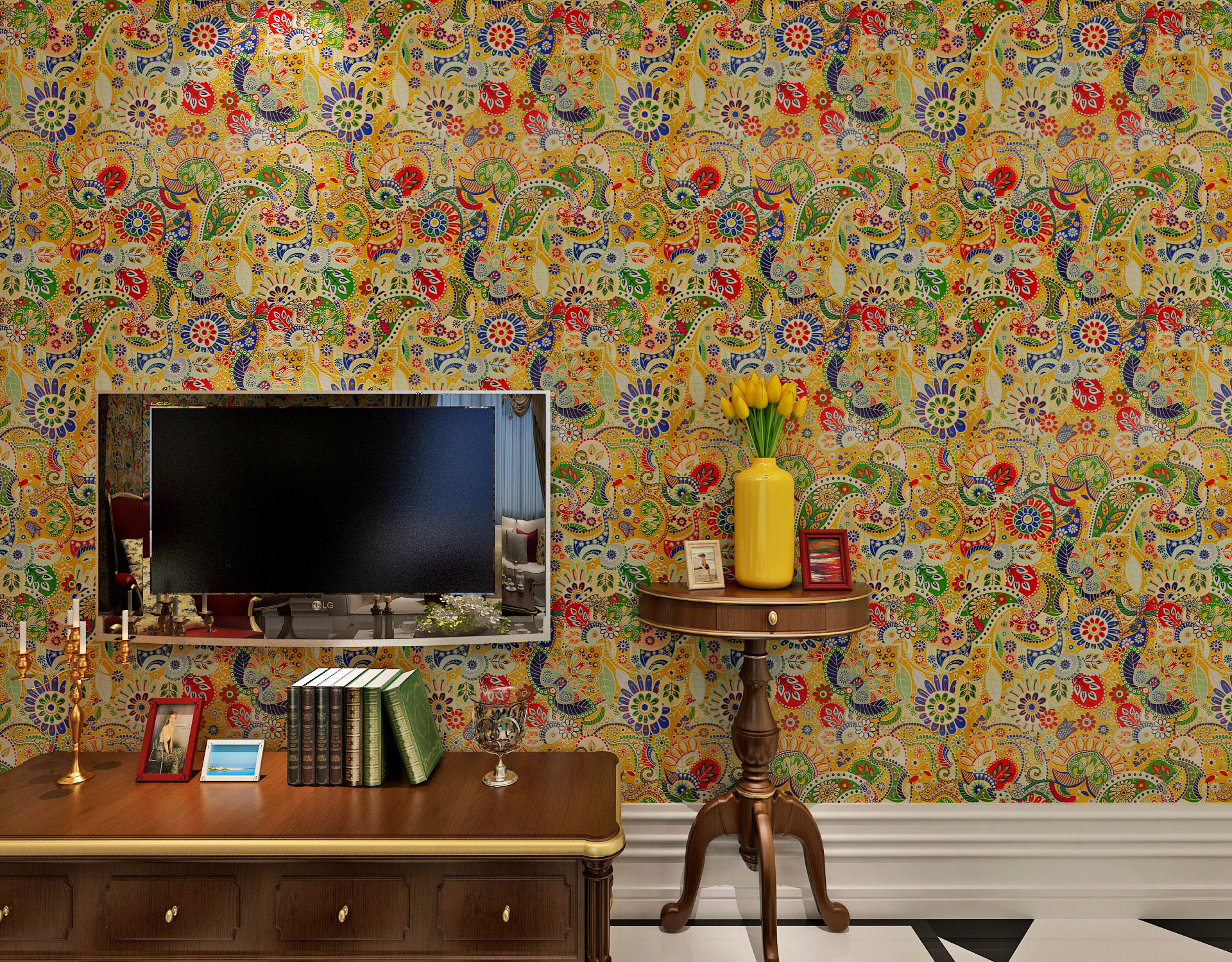 Southeast Asian Style PVC Embossed Wallpaper Factory Supplier With SGS-1